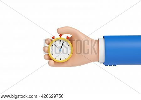 Cartoon Hand With A Stopwatch Isolated On White Background. 3d Illustration.
