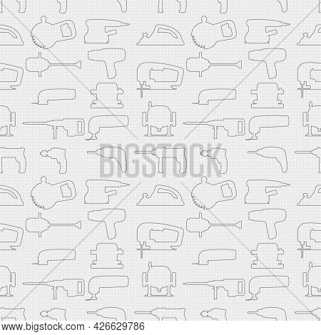 Vector Seamless Repeating Pattern And Background With Industrial Power Tools Transparent Icons. For