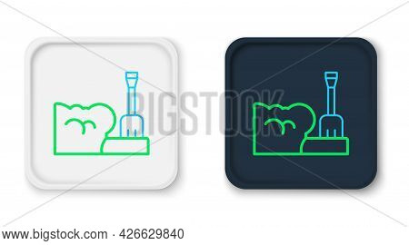 Line Shovel In Snowdrift Icon Isolated On White Background. Colorful Outline Concept. Vector