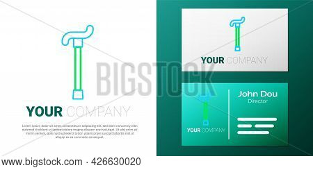 Line Walking Stick Cane Icon Isolated On White Background. Colorful Outline Concept. Vector