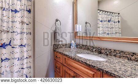 Pano Oval Sink On Bathroom Vanity Countertop With Cabinets And Framed Wall Mirror