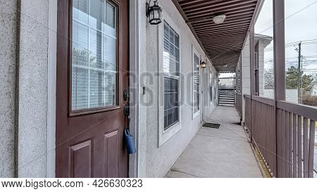 Pano Apartment Units With Single Loaded Corridor Access Overlooking The Neighborhood