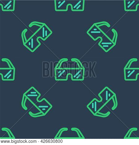 Line Safety Goggle Glasses Icon Isolated Seamless Pattern On Blue Background. Vector