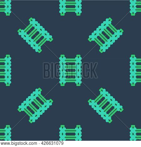Line Fire Escape Icon Isolated Seamless Pattern On Blue Background. Pompier Ladder. Fireman Scaling