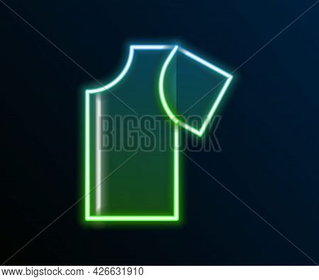 Glowing Neon Line Sewing Pattern Icon Isolated On Black Background. Markings For Sewing. Colorful Ou