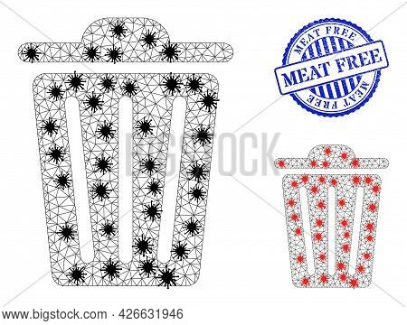 Mesh Polygonal Trash Can Symbols Illustration With Infection Style, And Textured Blue Round Meat Fre