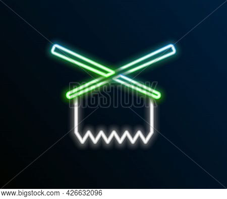 Glowing Neon Line Knitting Needles Icon Isolated On Black Background. Label For Hand Made, Knitting