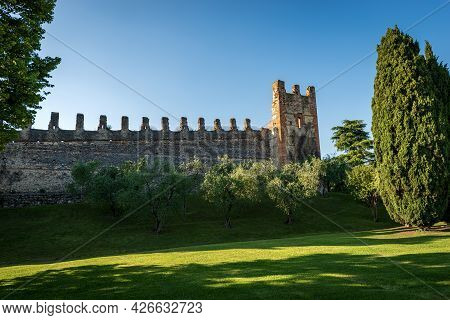 Medieval Surrounding Wall Of The Small Village Of Lazise, Tourist Resort On The Coast Of Lake Garda