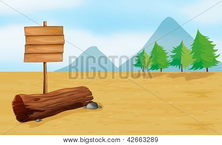 Illustration of an empty wooden signboard