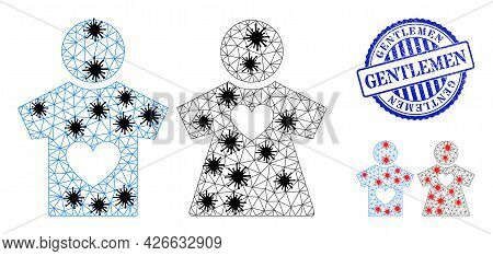 Mesh Polygonal Lovers Pair Icons Illustration In Infection Style, And Scratched Blue Round Gentlemen