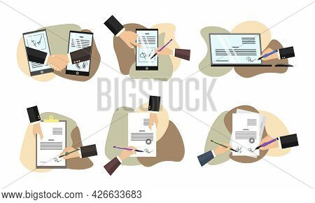 Business Partners Signing Paper Or Digital Contract Documentation. Set Of Scenes With Entrepreneurs