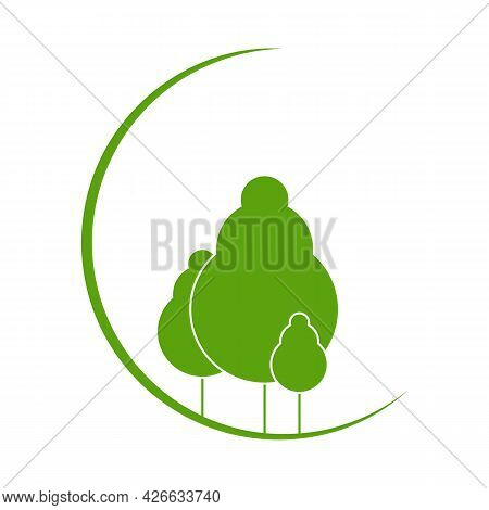 Logo For Forestry Or Eco Company Or Event: Green Trees On The Background Of A Crescent Moon. Vector