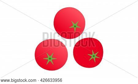 Tomatoes. Minimal Style Red Tomato Composition. Abstract Geometric Vegetables On White Background. M
