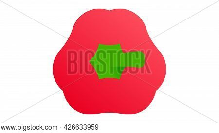 Paprika. Minimal Style Red Bell Pepper. Minimalistic Red Pepper With Green Pedicel, Top View. Abstra