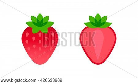 Strawberry. Minimal Style Red Strawberry Composition. Abstract Geometric Fruits With Slice On White