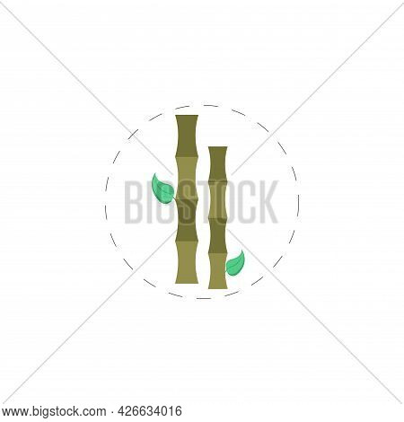 Bamboo Branch Clipart. Bamboo Branch Isolated Simple Vector Clipart