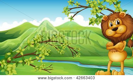 Illustration of an angry lion in the riverbank