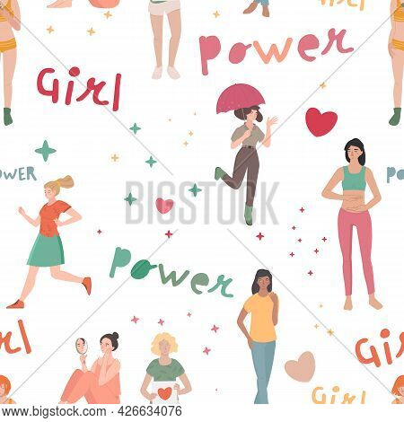 Girl Power Seamless Pattern. Woman Rights Concept.