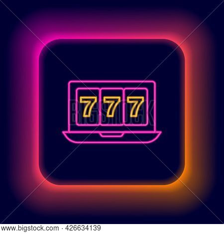 Glowing Neon Line Online Slot Machine With Lucky Sevens Jackpot Icon Isolated On Black Background. O