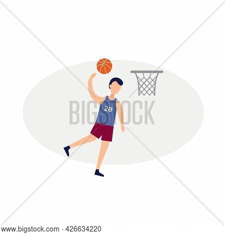 Basketball Player Scores A Ball Clipart. Basketball Isolated Simple Vector Clipart
