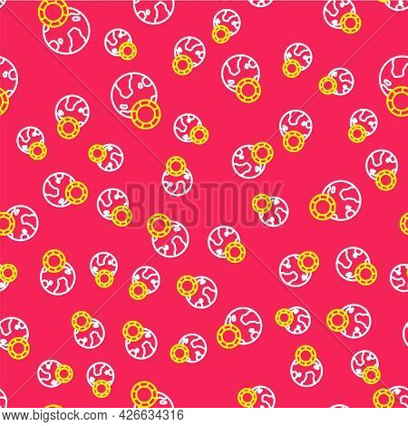 Line Casino Chips Icon Isolated Seamless Pattern On Red Background. Casino Gambling. Vector