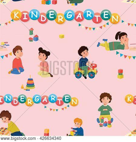Children Playing In A Kindergarten. Seamless Pattern.