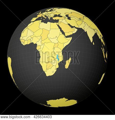 Malawi On Dark Globe With Yellow World Map. Country Highlighted With Blue Color. Satellite World Pro