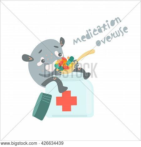 Medication Overuse Character Eating Too Much Pills.