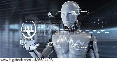 Hr Human Resources Automation Rpa. Robot Pressing Button On Screen 3d Render