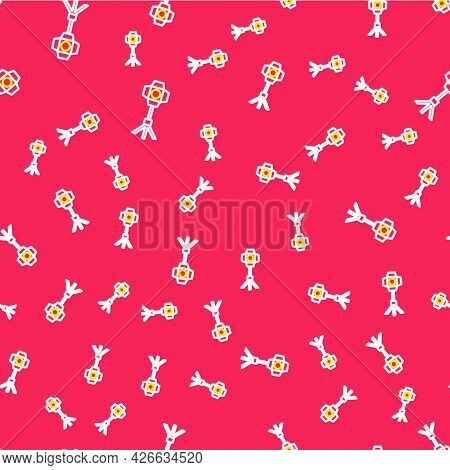 Line Studio Light Bulb In Softbox Icon Isolated Seamless Pattern On Red Background. Shadow Reflectio