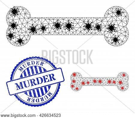 Mesh Polygonal Bone Icons Illustration In Lockdown Style, And Distress Blue Round Murder Stamp. Carc
