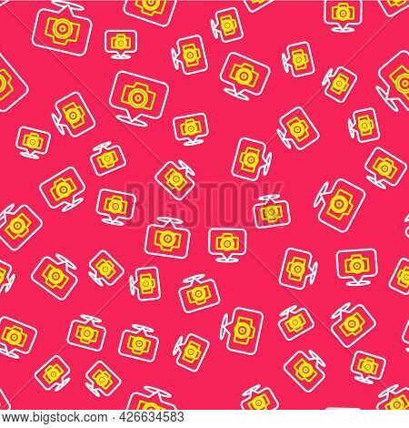 Line Photo Camera Icon Isolated Seamless Pattern On Red Background. Foto Camera. Digital Photography