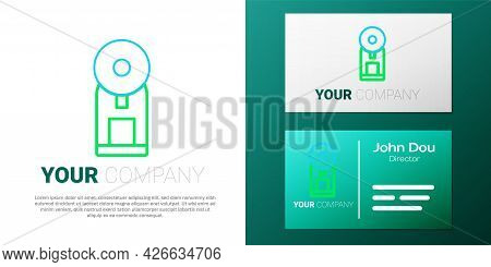 Line Smart Coffee Machine System Icon Isolated On White Background. Internet Of Things Concept With
