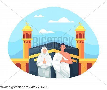 Muslim Couple Is Doing Islamic Hajj Pilgrimage