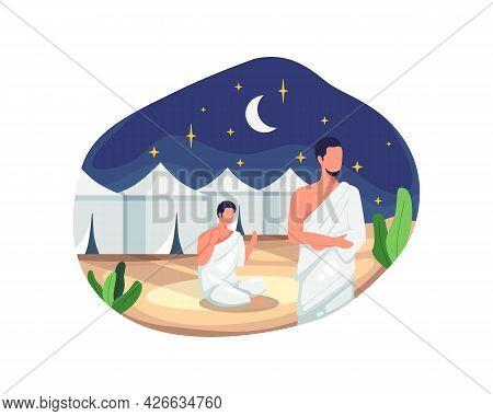 Hajj Pilgrims Praying And Resting In Mina