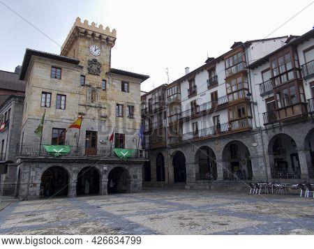 Castro-urdiales, Spain - June 23, 2021. The Casa Consistorial (town Hall), In Cantabria, Spain. Euro