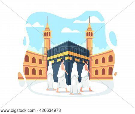 People In Hajj Pilgrimage Wearing Ihram