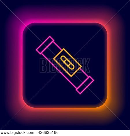 Glowing Neon Line Construction Bubble Level Icon Isolated On Black Background. Waterpas, Measuring I