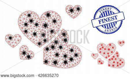 Mesh Polygonal Love Hearts Icons Illustration With Lockdown Style, And Grunge Blue Round Finest Badg