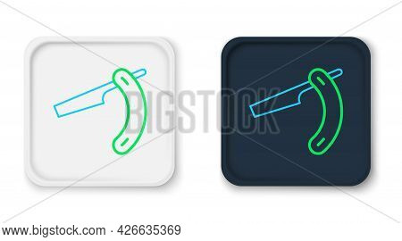 Line Straight Razor Icon Isolated On White Background. Barbershop Symbol. Colorful Outline Concept.