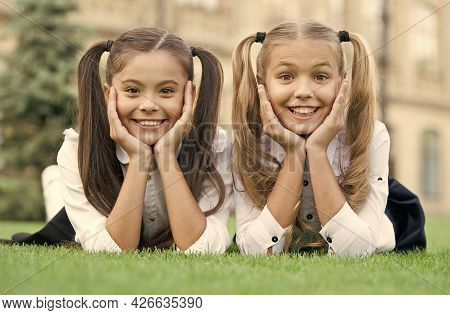 Smile And Go Back To School. Happy Children Smile On Green Grass. Dental Hygiene. Tooth Health. Pedi