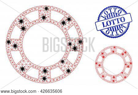 Mesh Polygonal Casino Chip Icons Illustration With Lockdown Style, And Textured Blue Round Lotto Sea