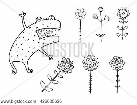 Funny Angry And Scary Alien Monster With Teeth And Flowers For Kids Book. Imaginary Creature For Chi