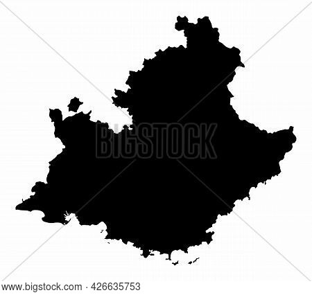 Provence-alpes-cote Dazur Dark Silhouette Map Isolated On White Background, France