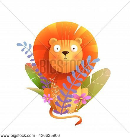 Adorable African Baby Lion With Flowers And Leaves Decoration. Cartoon Watercolor Style Lion For Chi