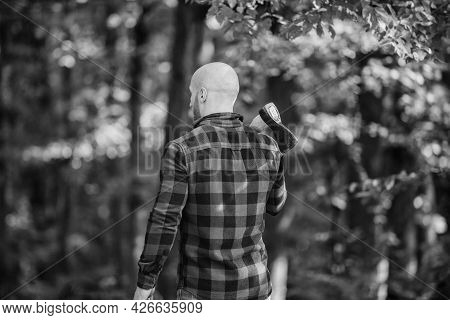 Hike Vacation. Hike In Forest. Forest Care. Determination Of Human Spirit. Man Checkered Shirt Use A