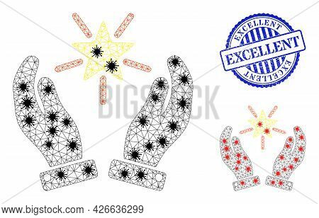 Mesh Polygonal Shine Star Care Hands Symbols Illustration With Infection Style, And Distress Blue Ro