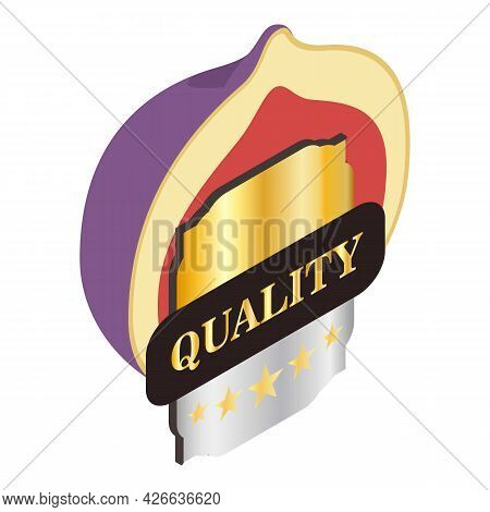Fig Icon Isometric Vector. Fresh Purple Sweet Ripe Fig. Quality Sign, Fruit