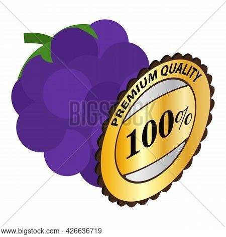 Blackberry Icon Isometric Vector. Fresh Sweet And Sour Ripe Blackberry. Premium Quality Sign, One Hu