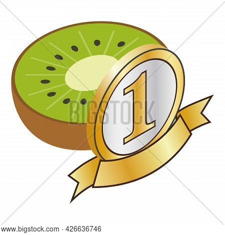 Kiwi Icon Isometric Vector. Fresh Sweet And Sour Ripe Juicy Exotic Fruit. First Place Icon, Number O